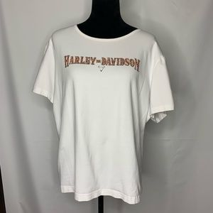 Harley-Davidson 3xl white top, EUC, embellished